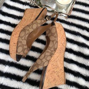 Signature Coach peep toe wedge sandal